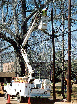Installing aerial cable using a bucket-truck