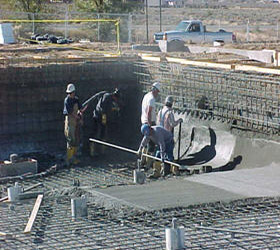 Building a pool from concrete